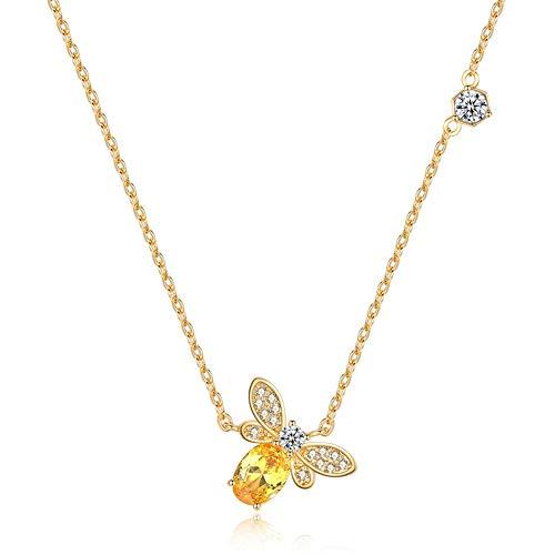 AILUOR Damen Kleine Nette Biene Halskette, Fashion Charm Topaz Kristall Strass Honeybee Bumble Bee Anhänger Schmuck Geschenke Gold Einstellbar -