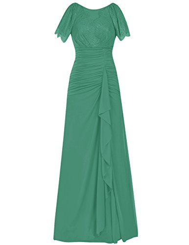 Dresstells Robe de mère de la mariée Robe de demoiselle d'honneur en mousseline longueur ras du sol Vert