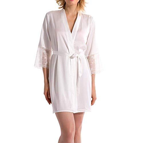 Saoye Fashion Nachthemd Frauen Ladis Silk Dress Robe Pyjamas Bademantel Kleidung Bade Männerlingerie Coat Bade Männermorgenmantel (Color : Colour, Size : - Günstige Silk Robe