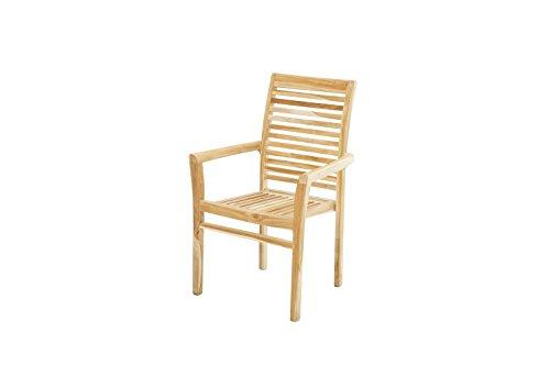 Ploß Outdoor-Sessel Pittsburgh Eco - Teakholz-Sessel mit SVLK-Zertifikat - Gartensessel Holz Braun - Holzstuhl mit Armlehnen 63cm - Garten-Möbel aus Teak - bequemer Holzsessel für Terrasse & Balkon