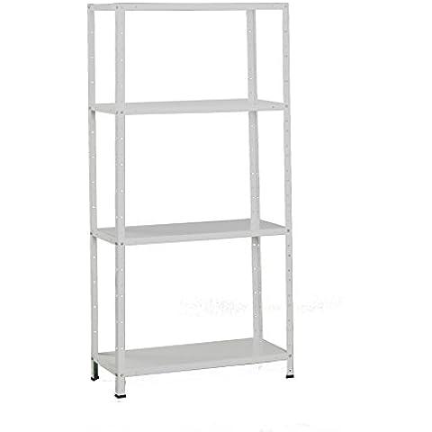 Simonrack 202100016157534 - Estantería con tornillos (4 bandejas metálicas, 1500 x 750 x 300, 50 kg/estante) color blanco