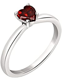 Silvernshine 7mm Heart Cut Garnet Solitaire Engagement Ring 4 Prong In 14K White Gold Plated