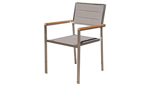 OUTFLEXX Moderner Stapelstuhl in Taupe, aus rostfreiem Edelstahl, Sitzfläche aus Textilene und Armlehnen aus hochwertigem Teakholz, Circa 62 x 56,5 x 86 cm, Holzstuhl, Sessel, wetterfest Silber - Edelstahl-stapelstühle