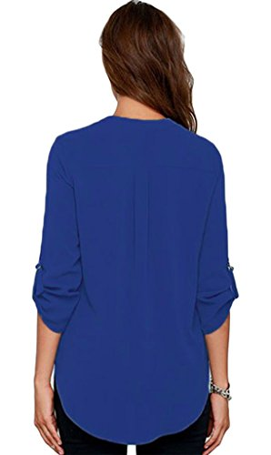 La vogue Damen Bluse Shirt Loose Chiffon Casual Blau