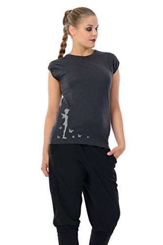 Punk Femme lâches Chemise / Tshirt manches courtes imprime Punk de fée de 3Elfen - Ladies Top Fashion Gothic Noir Gris