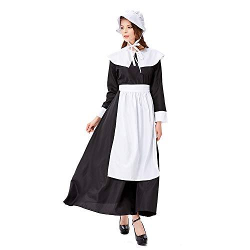 Service Kostüm Themen - MEMIND Halloween Kleider Farm Life Kleidung Black Maid Maid Service Bühnenanzug Cosplay weibliche Kostüme Thema Party Kleidung,M