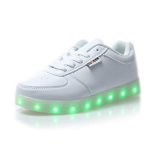 Dogeek unisex scarpe con luci scarpe led luminosi sneakers con luce sneaker,42 eu,bianca
