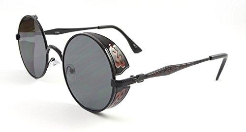 Marco Ultra negro con lentes negro Steampunk gafas de sol 50s copas redondas con UV400 Protección té cobre Cyber gafas rave gótico vintage