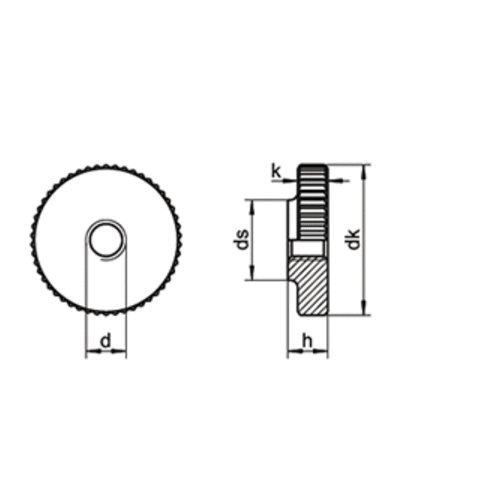 10 Stk. DIN 467 A1 M 4 Rändelmutter niedrige Form EDELSTAHL W1.4305