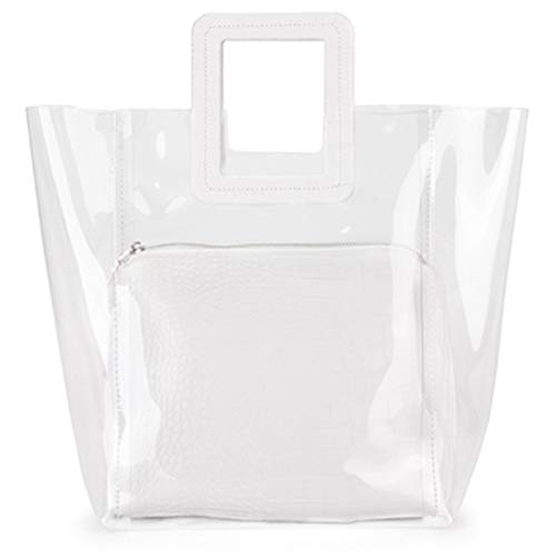 Sungpunet elegante Impermeabile trasparente borsa spiaggia a mano tracolla grande lavoro borsa tote bag borsa interna per donna bianca