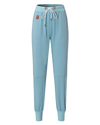Auxo Femme Plain Casual Pantalons Sports Physique Slim Extensible Jambières Joggings Poches Pantalons Bleu clair