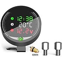 KKmoon Voltímetro LED Indicador 5 en 1 Reloj Indicador de Temperatura de Agua Digital Moto 9-24v con Soporte para Montaje