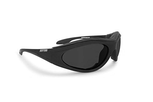 BERTONI Motorradbrille Beschlagfrei Windschutz - Matt Schwarz AF125 Bikerbrillen (Grey Lens)