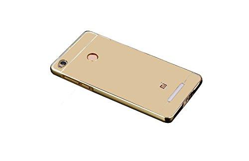 AMFIN For Xiaomi Redmi 3S Prime Luxury Mirror Aluminium Metal Bumper Back Cover Case For Redmi 3S Prime Mirror Back Cover - Gold Golden