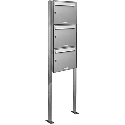 AL Briefkastensysteme 3er Standbriefkasten Briefkasten modern, 3 Fach Briefkastenanlage in Edelstahl Postkasten