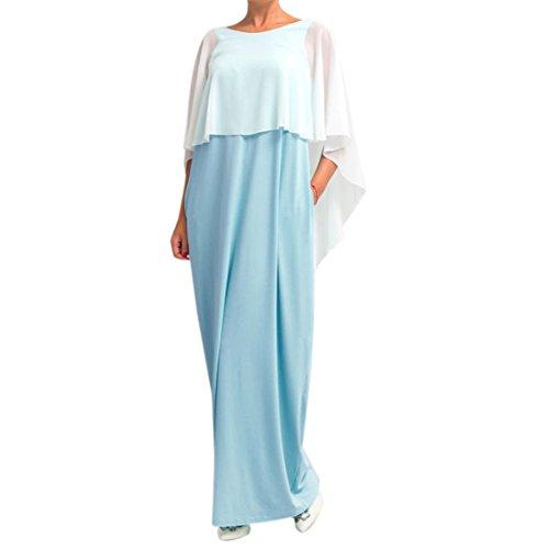 QIYUN.Z Femmes Style Châle D'Été Style Backless Maxi Décontracté Robes Longues De Couleur Unie Bleu Clair