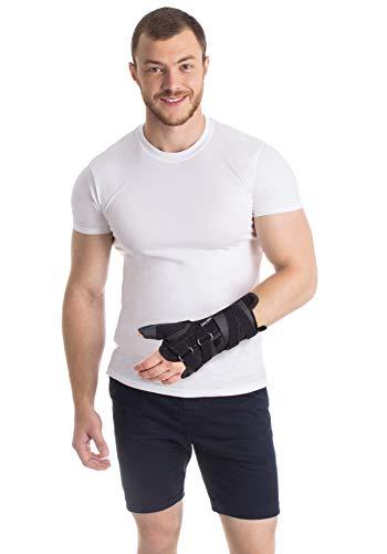 Muñequera con sujeción del pulgar para mano izquierda Medium Negro