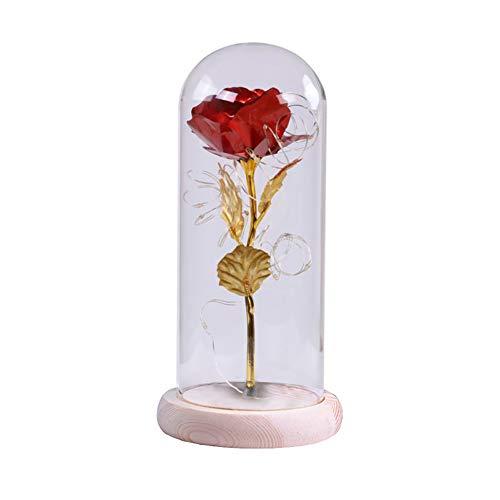Rose Glas Lichterkette 24 K Gold Folie künstliche Rose und LED Lichterkette Schöne und das Biest verzauberte Rose Holzsockel Hochzeit Jahrestag Love Forever Geschenk B1 (Folie Abendessen)
