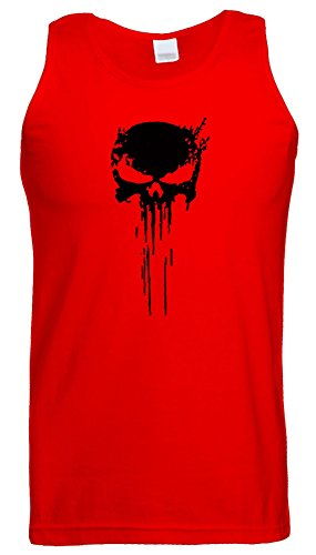 Punisher Skull Logo Weste Tank Top Frank Castle Spiel Rot (Red) / Schwarz Design