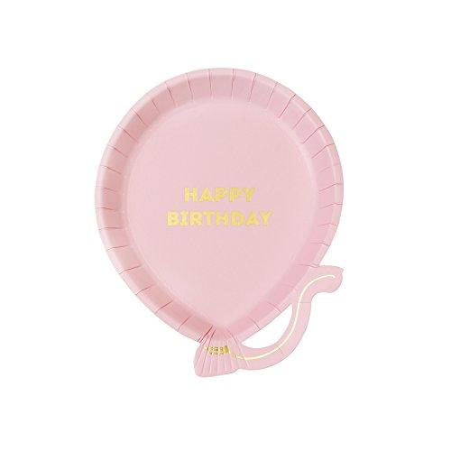 Talking Tables We Heart Birthdays, Happy Birthday Ballon-Pappteller, pink, 18 cm (12 Stück in 1 Design)