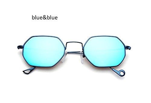 ZHANGYUSEN Fashion Small Hexagonal Square Sunglasses Women New Brand Designer Men Vintage Metal Frame Mirror Sun Glasses Female,Blue Blue
