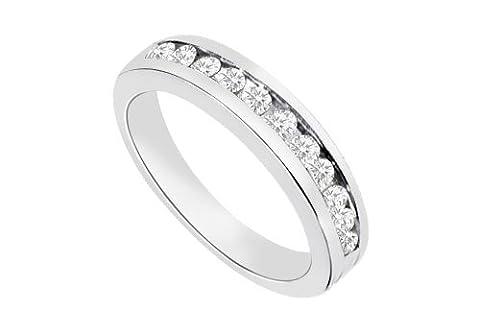 Channel set Diamond Half Eternity Wedding Band 14K White Gold 0.35 CT Diamonds