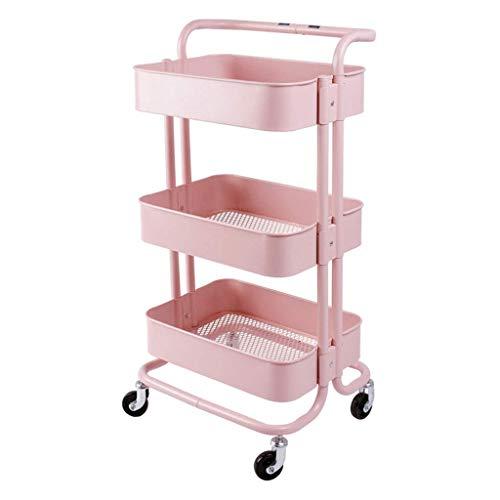 NMDCDH Abnehmbare Riemenscheibe Küche Lagerregal Wagen Wohnzimmer Lagerregal (Farbe: Pink)