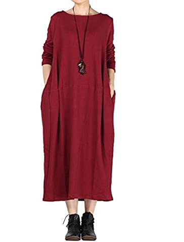 Vogstyle Women's Round Neckline Long Sleeve Baggy Dress with Pocket