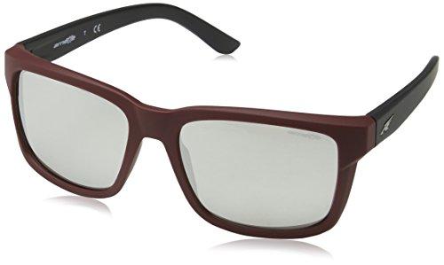 Arnette 0an4218 23256g 57, occhiali da sole uomo, rosso (fuzzy burgundy/lightgreymirrorsilver)