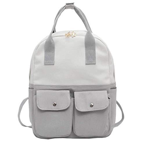 ZHRUI Canvas Rucksack für Frauen Teen Mädchen High School Tasche, Schulter große süße Riemen Sling leichte Packalbe Erwachsene Student (Pink) (Farbe : Grau)
