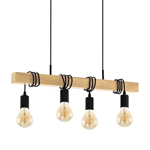 EGLO Pendelleuchte Holz Vintage, Hängelampe Esszimmer, Hängeleuchte 4-flammig, rustikale Retro Lampe im Industrial Design mit E27 Fassung, Townshend Pendellampe schwarz, braun
