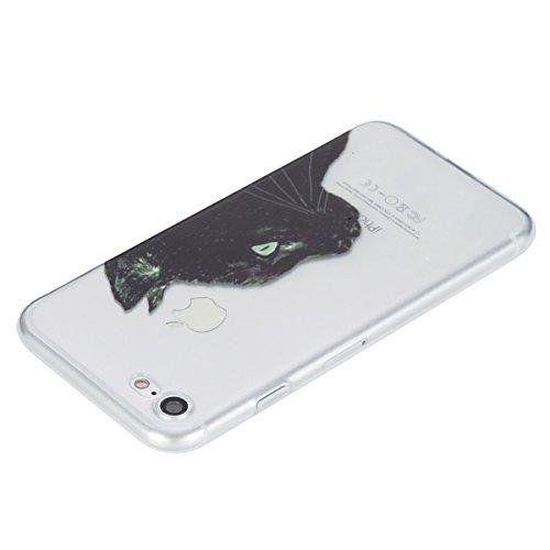 Felfy Silikon Hülle für iPhone 7,iPhone 7 Schutzhülle,iPhone 7 Case Schutz Ultradünne Slim Weicher Gel Flexible TPU Silikon Hülle Schutzhülle Silikon Cool Mode Hülle Farbe Muster Schutz Scratch Resist Schwarze Eule Schutz