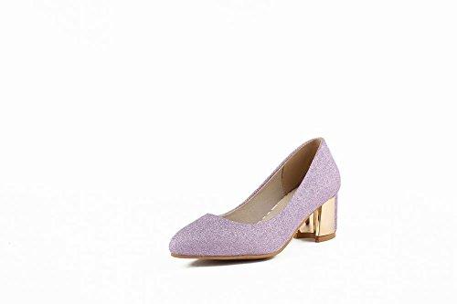Mee Shoes Damen süß elegant dicker Absatz Spitz ohne Verschluss Pumps Rosa Und Lila