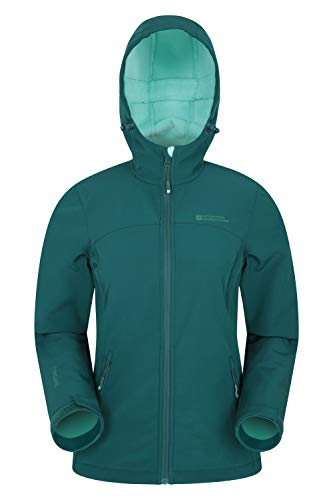 Mountain Warehouse Exodus Wasserabweisende Softshell-Damenjacke - atmungsaktive Regenjacke, länger im Rücken - großartig zum Spazierengehen, Reisen, Wandern, Frühling Dunkelgrün DE 48 (EU 50)
