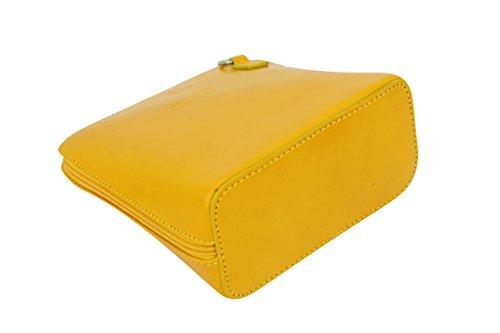 AMBRA Moda - Borsa di pelle a tracolla Donna, borsa piccolo Gelb
