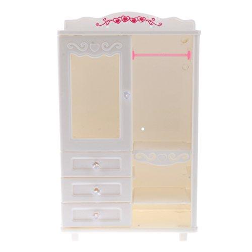 Sharplace bambole miniatura guardaroba armadietto immagazzinaggio cassetto cabinet storage decorazione casa giocattolo bambino plastica