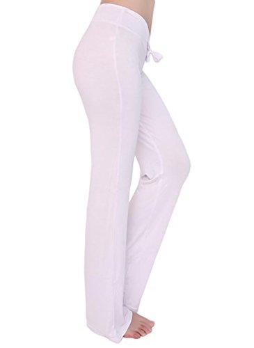 Baymate Femme Elastique Pantalon de Yoga Danse du Ventre Fitness Pantalons Sport Grande Taille Blanc