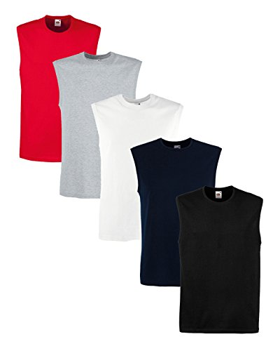 5 PACK Fruit of the Loom TANK TOP Lightweight Gym Muscle Vest