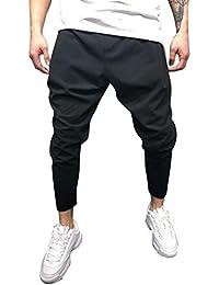 ORANDESIGNE Homme Pantalon Casual Cargo Chic Chino Sport Jogging Slim Fit  Legging Grande Taille Baggy Couleur Unie Stretch Pants… d22ca400385c
