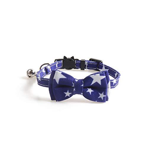 ALiYangYang Breakaway Cat Collar mit Glocke und Fliege Einstellbare Sicherheit Kitty Collars mit Star Printing Design für Katzen Geschenke,Blue,0.4x11.2'' -