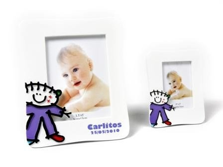 DISOK - Portafotos Bautizos Toy Poliresina Niño L - Detalles para bautizos portafotos recuerdos
