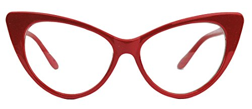 50er Jahre Damen Brille Cat Eye Nerdbrille Klarglas Brillengestell FARBWAHL KE (Rot)