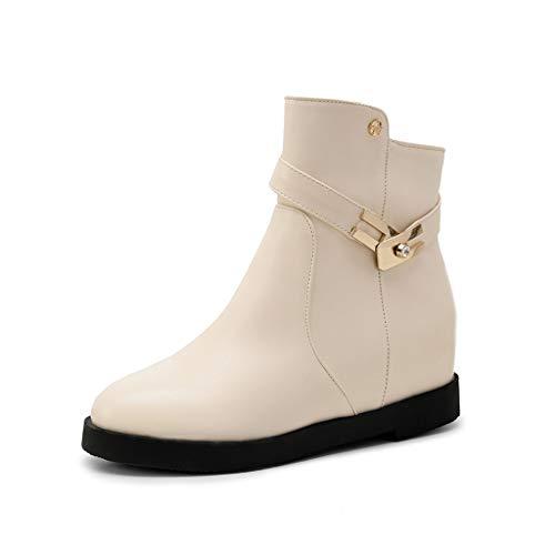 Bottes en métal à la mode pour femmes, bottes à fermeture à glissière épaisse, chaussures décontractées à tête ronde (38 EU, Beige)
