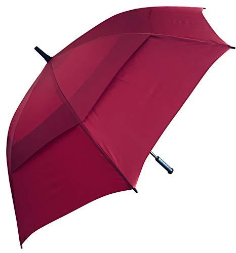 Procella Regenschirm Sturmfest Groß Schirm - Golf Umbrella - Großer XXL Stockschirm Automatik - Schützt Vor Regen, Wind Und Sonne für Damen und Herren (Dunkelrot) (Wind-regenschirm)