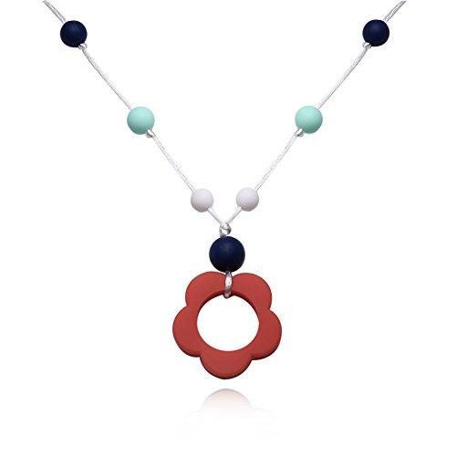 Yazilind Frauen Schmuck Mode böhmischen Stil rote Blume Silikagel Anhänger Seil Kette Halskette für idear Geschenk