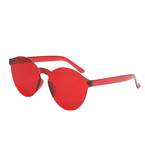 fazry Damen Herren Mode Oval Form Rahmen Bonbonfarben Rahmenlos Transparent Sonnenbrille(Rot)