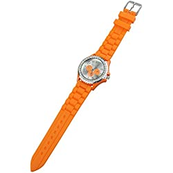 TOOGOO(R) Women's Crystals Rubber Silicone Gel Jelly Watch Orange