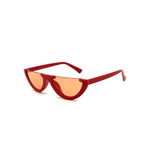YUHANGH Einzigartige Halbe Rahmen Frauen Cat Eye Sonnenbrillen Mode Damen Pink Tint Clear Lens Shades - Versace Red Lens