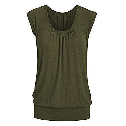 LOPILY Sommer T-Shirt Kurzarmshirt Damen Elegante Übergröße Kurzarm Gekräuselte Geraffte Shirts Blusen Tops Sommer Lässige Unregelmäßiger Saum Falten Bluse Oberteil