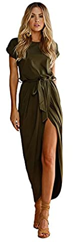 Longwu Deman Frauen Casual Beach Club Maxi Kleider Sommer Party Lange Kleid-Grün-M